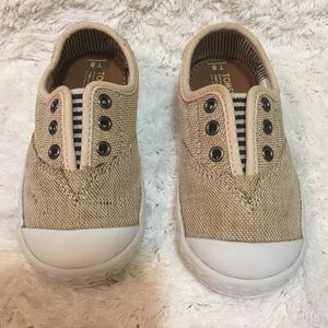 Toms size toddler 8. Slip on style burlap/canvas